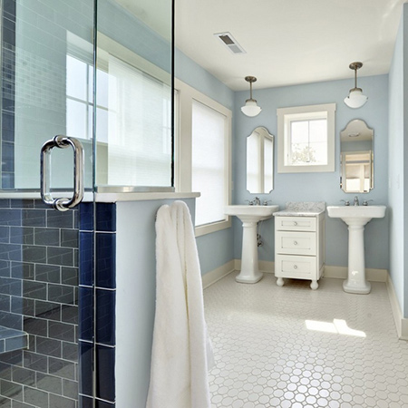 ideas decorating with blue paint for clean fresh bathroom