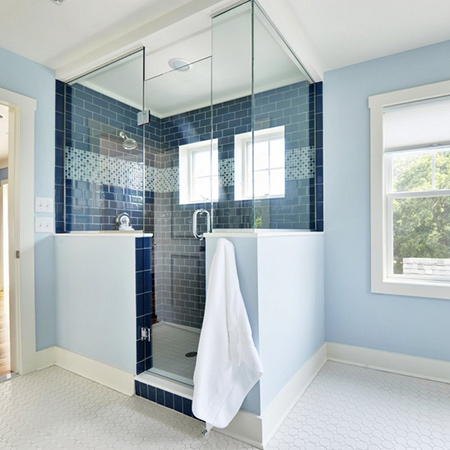 ideas decorating with blue tiles for clean fresh bathroom