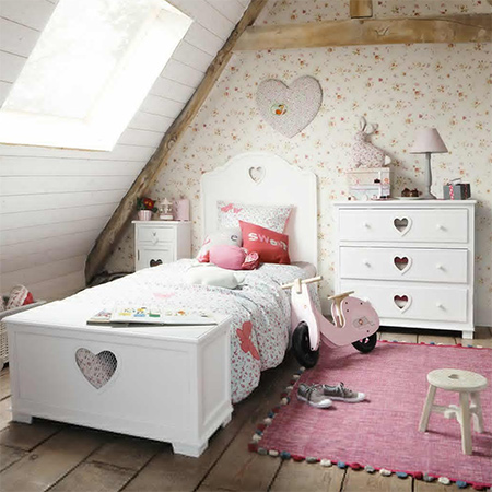 chest of drawers with heart cut out and distressed finish for little girls bedroom