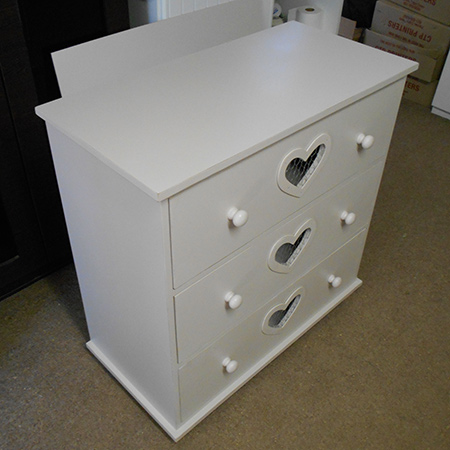 chest of drawers with heart cut out, distressed finish and chicken wire