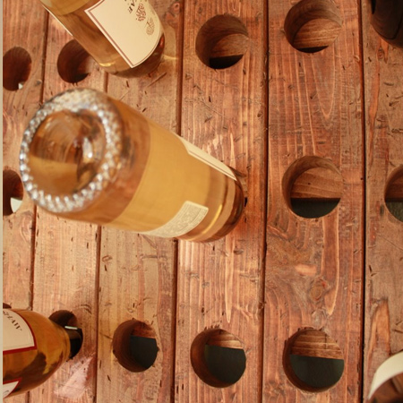 Use reclaimed wood to make a riddling rack