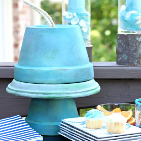 terra cotta pots to make cupcake stand for entertaining