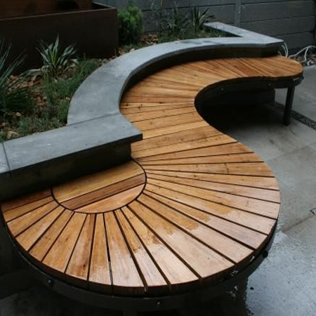 contemporary flowing garden bench