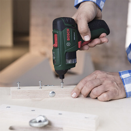 Not your average cordless screwdriver, the Bosch PSR Select is a cordless screwdriver that has an integrated bit cylinder that contains the 12 most important screwdriver bits you need.