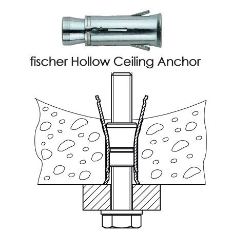 For concrete slab ceilings you will need to use a drill with hammer function, or a hammer drill. It is important to drill the proper hole diameter for the fittings you will use to mount fixtures.