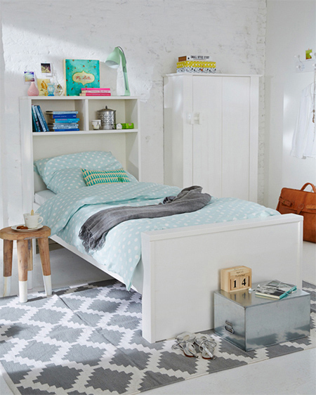childs bed with storage bookshelf bookcase headboard