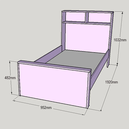 Child's bed with bookshelf or storage headboard