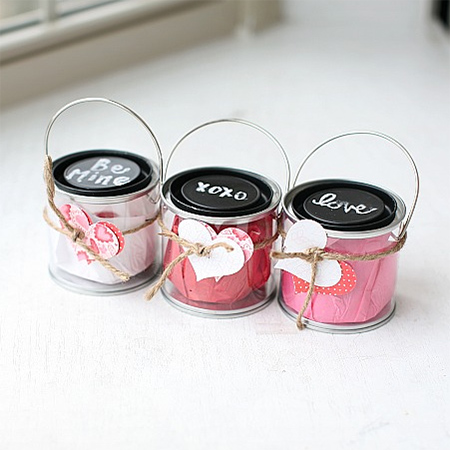 recycle jars or cans into valentine sweet or treat containers