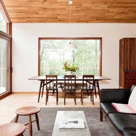 Naturally modern wood homes with timber or wood furniture