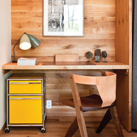 Naturally modern wood homes wood plank panelling in home office alcove