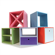 Colourful storage boxes