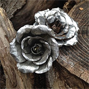 Recycled aluminium can roses