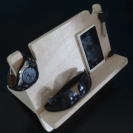 gift for your man holder for bedside table for watch, cellphone and wallet