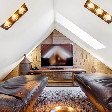 Attic Conversion Becomes Spacious Living Space Tv Room