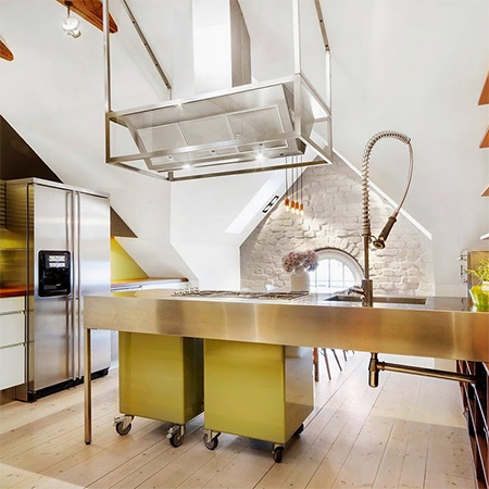 Attic conversion becomes spacious living space kitchen