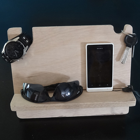 holder for bedside table for watch, cellphone and wallet