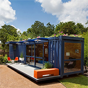 Shipping container = garden room