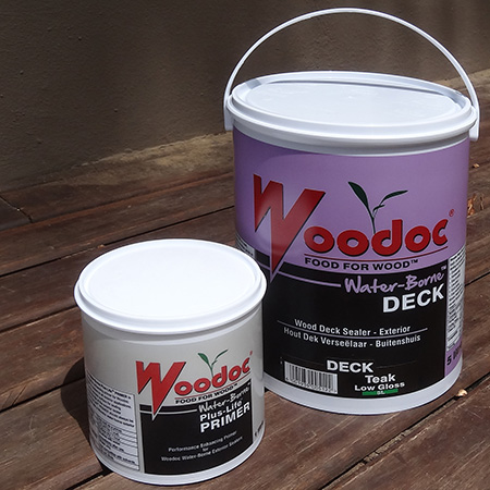 woodoc waterbased water borne exterior deck sealer and plus life primer