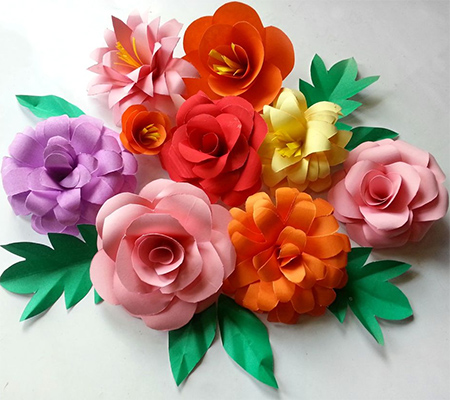 rolled paper card assorted colourful flower ideas
