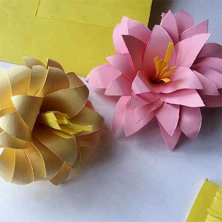 rolled paper card pink and yellow  colourful flower ideas