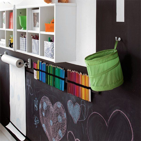 rustoleum chalkboard painted wall for childrens room