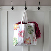 Colourful painted tote bag