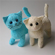 Turn an old towel into a cute kitty soft toy