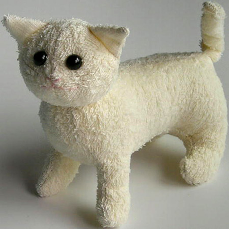 recycle old towel into cute kitty soft toy for child
