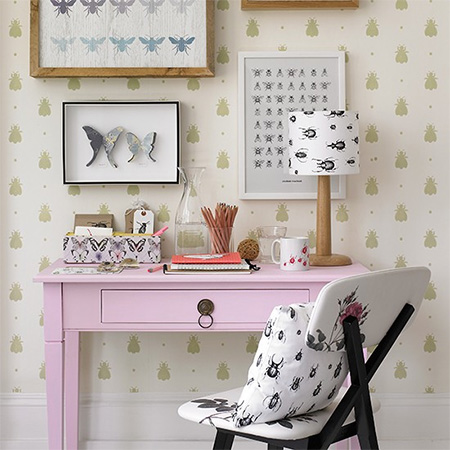pink reproduction vintage desk for home office