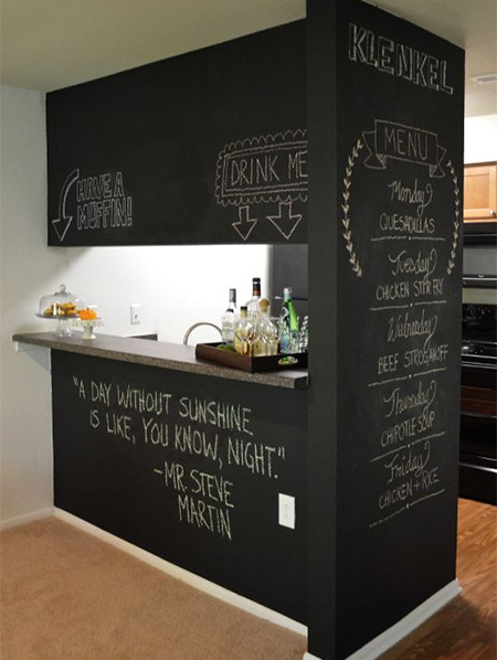 rustoleum chalkboard paint on a kitchen and dining room wall