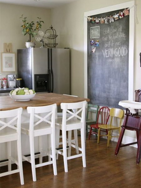 rustoleum chalkboard paint notice board in dining room