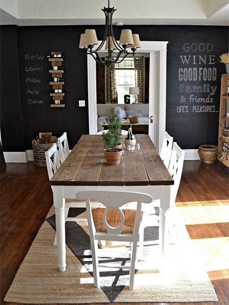 rustoleum chalkboard wine menu in dining room wall ideas