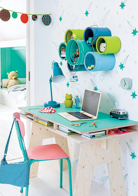 plywood wall mounted desk for child study bedroom