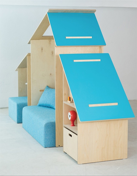 plywood childrens bedroom furniture and decor with play house