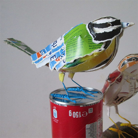 recycled  cardboard boxes beautiful birds
