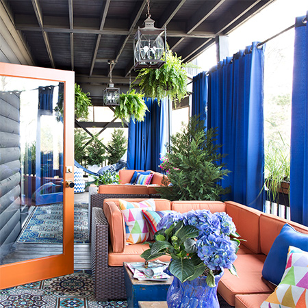 steel rod and fabric drapes dress up outdoor living area