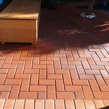 concete pavers installed on outdoor entertainment area