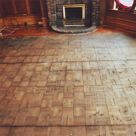 restore parquet floor with sanding and sealer
