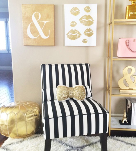 stripes with striped fabric on chair