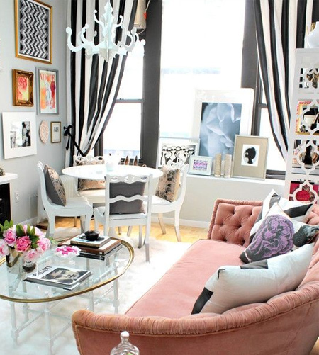 stripes with striped fabric in modern living room