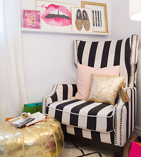 stripes with striped fabric on wingback chair