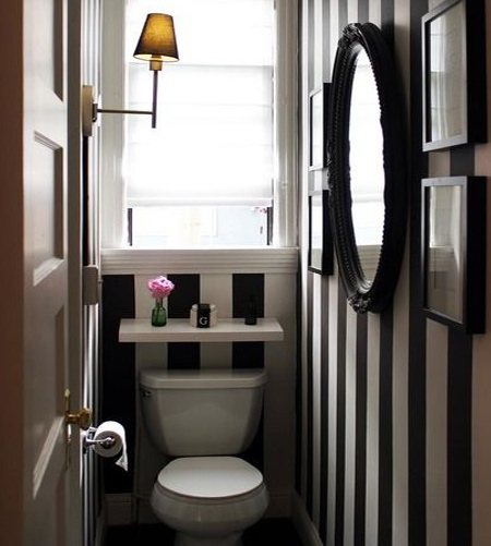 stripes with striped wall in guest bathroom