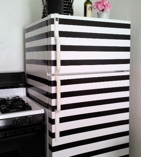 stripes with striped refrigerator