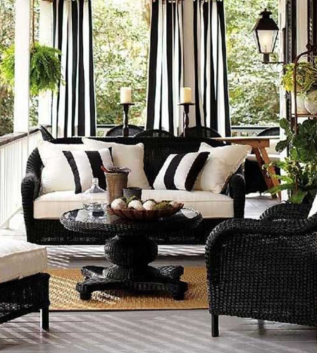 striped with striped curtains and cushions on patio