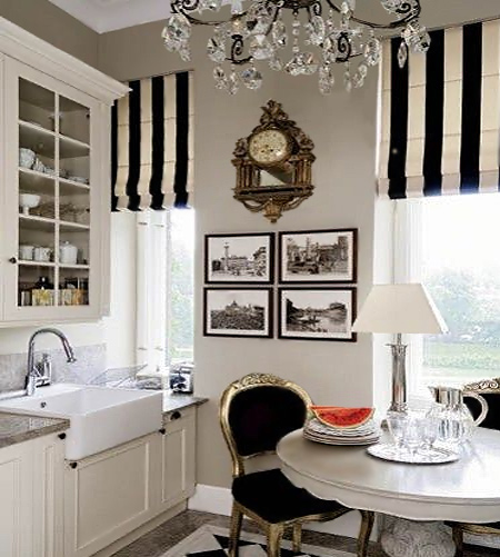 stripes with striped roman blinds in kitchen