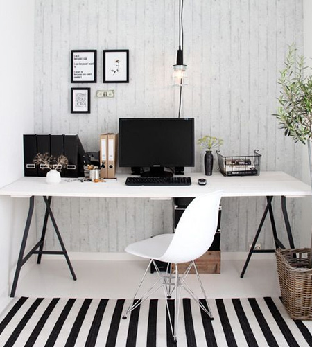 stripes with striped rug in office