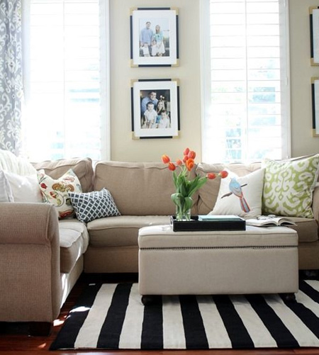 stripes with striped rug in living space