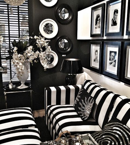 stripes with striped fabric sofa in living room