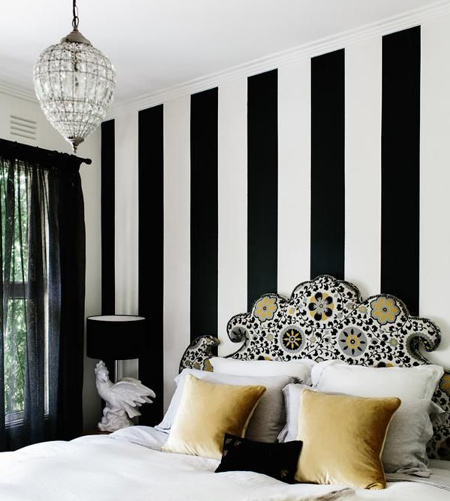 stripes with striped feature wall in bedroom