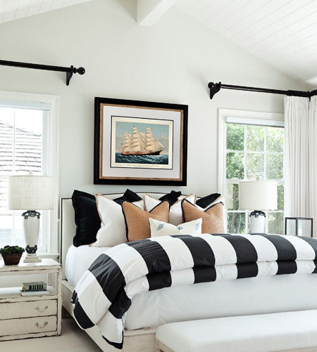 stripes with striped bedding in bedroom